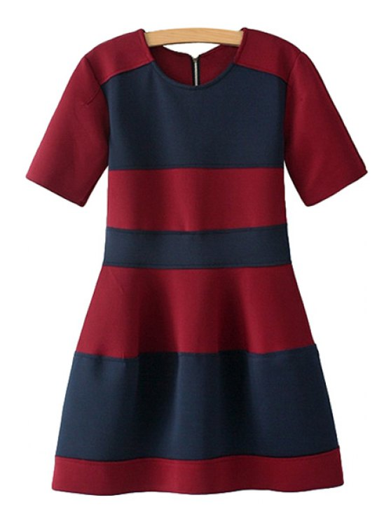 latest Color Block Ruffle Short Sleeve Dress - BLUE AND RED S