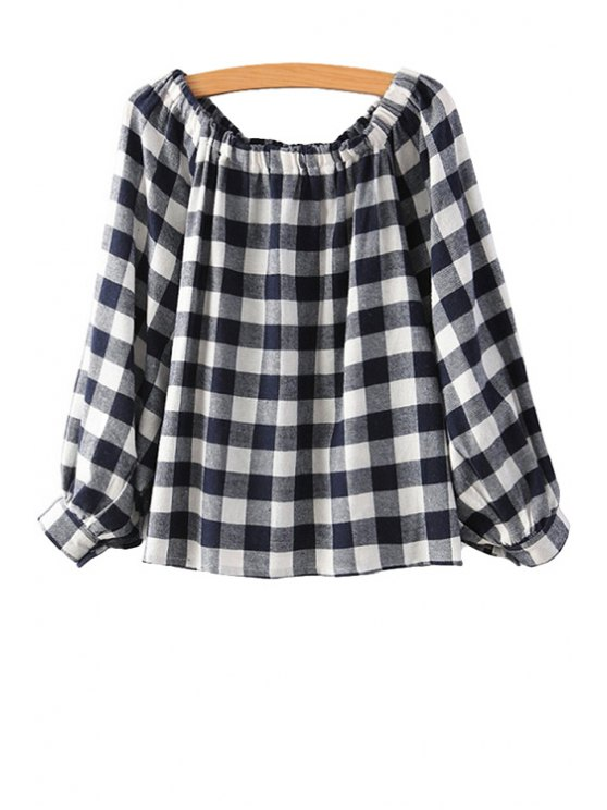 hot Plaid Color Block Elastic Shirt - WHITE ONE SIZE(FIT SIZE XS TO M)