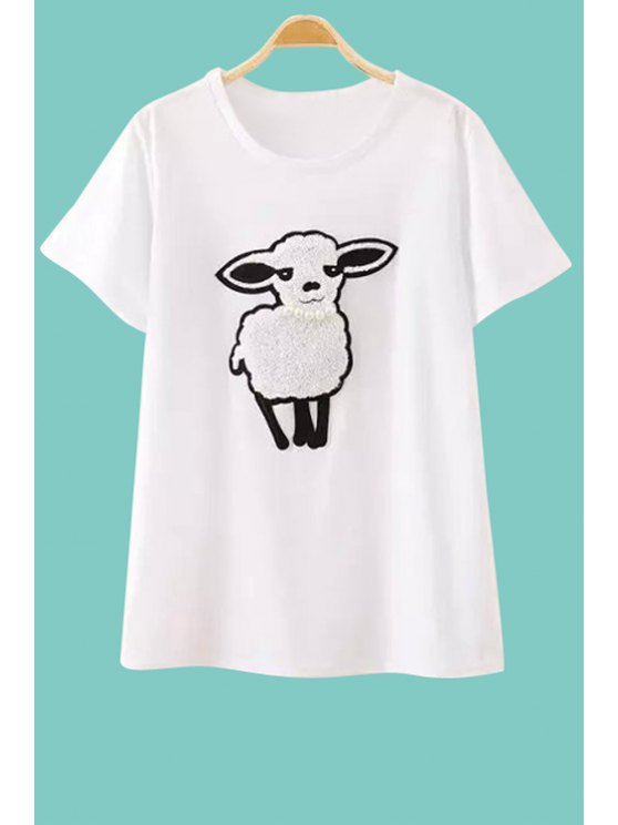 shop Sheep Embroidery Short Sleeve T-Shirt - WHITE M