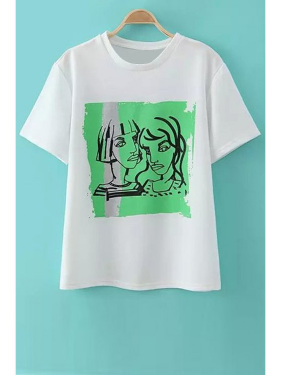 fashion Figure Pattern Short Sleeve T-Shirt - WHITE S