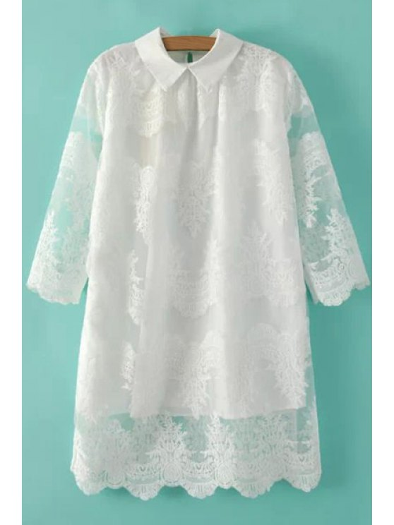 chic Solid Color Embroidery Half Sleeve Dress - WHITE S