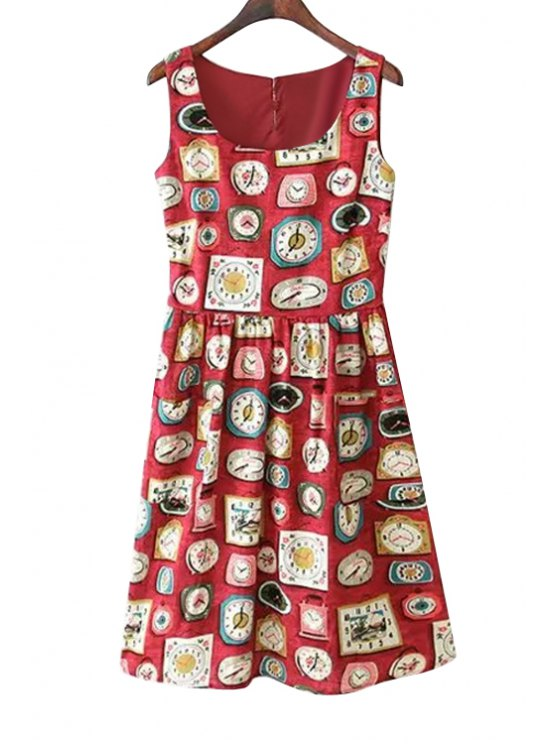 buy Full Clock Print A-Line Sundress - RED S