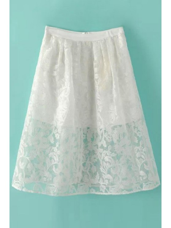 womens Floral Pattern Embroidery Zipper Fly Skirt - WHITE S