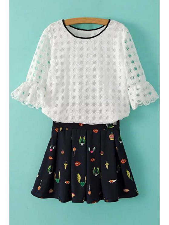 outfit Openwork Half Sleeve Blouse + Print Skirt - WHITE AND BLACK S