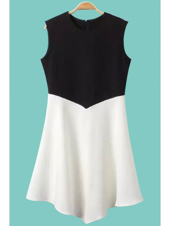 womens Color Block Asymmetrical Sleeveless Dress - WHITE AND BLACK S