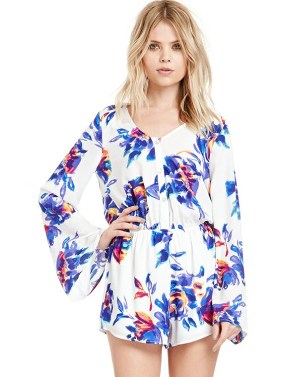 online Flare Sleeve Floral Print Rompers - BLUE S