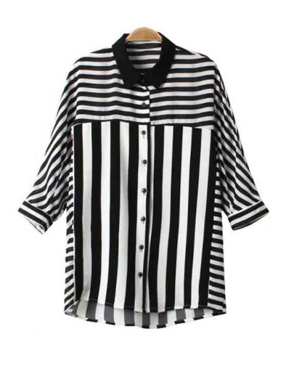 best Stripe Color Block Half Sleeve Shirt - WHITE AND BLACK M