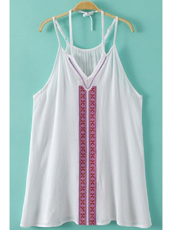 outfits Spaghetti Strap Embroidery Tank Top - WHITE S