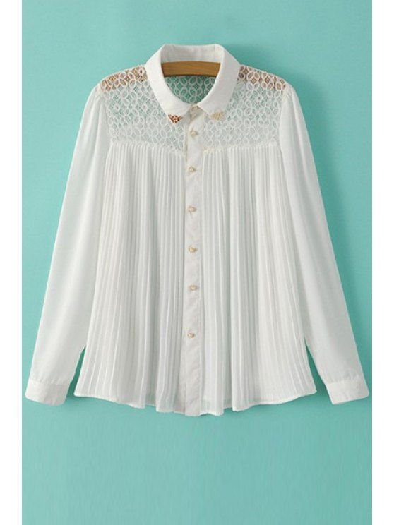 new Solid Color Lace Splicing Ruffle Shirt - WHITE S