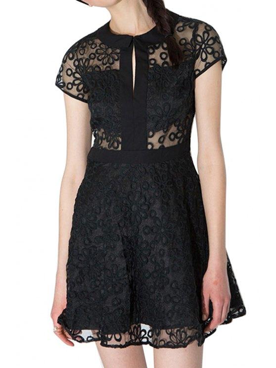 trendy Flower Embroidery Short Sleeve Dress - BLACK S