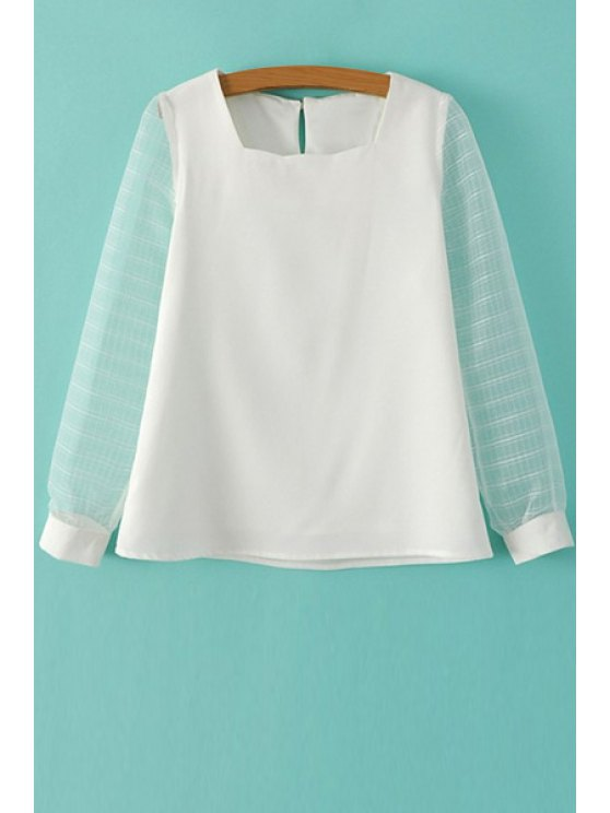 hot Solid Color Voile Splicing T-Shirt - WHITE S
