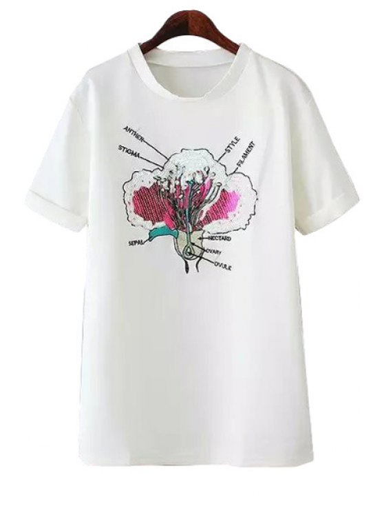trendy Floral Pattern Embroidery Sequins T-Shirt - WHITE ONE SIZE(FIT SIZE XS TO M)
