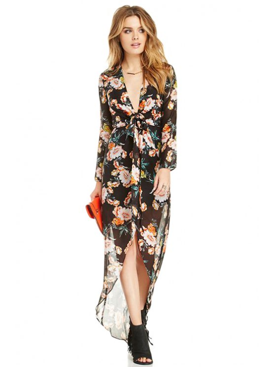 outfit Floral Chiffon Maxi Dress - COLORMIX S