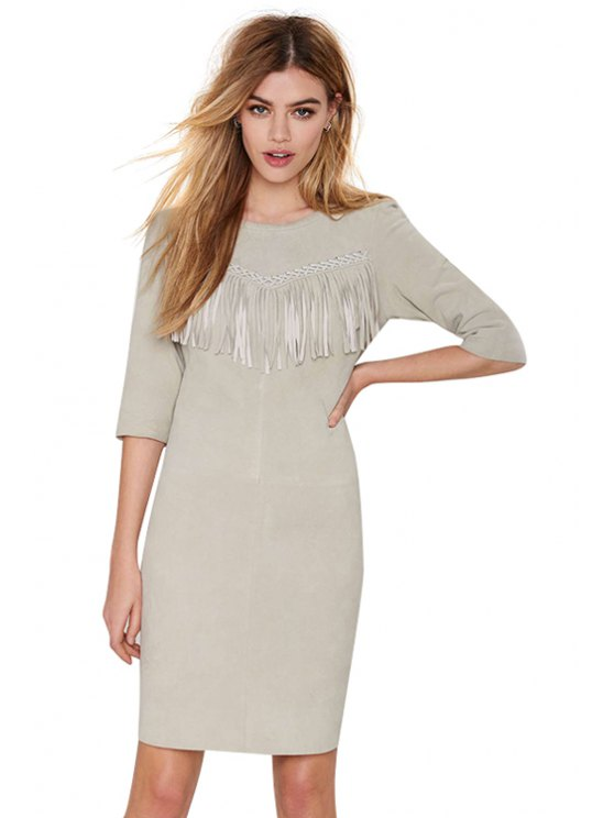 women Tassels Splicing Half Sleeve Dress - GRAY S