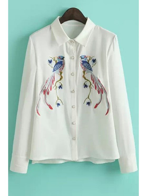 fashion Birds Pattern Embroidery Shirt - WHITE S