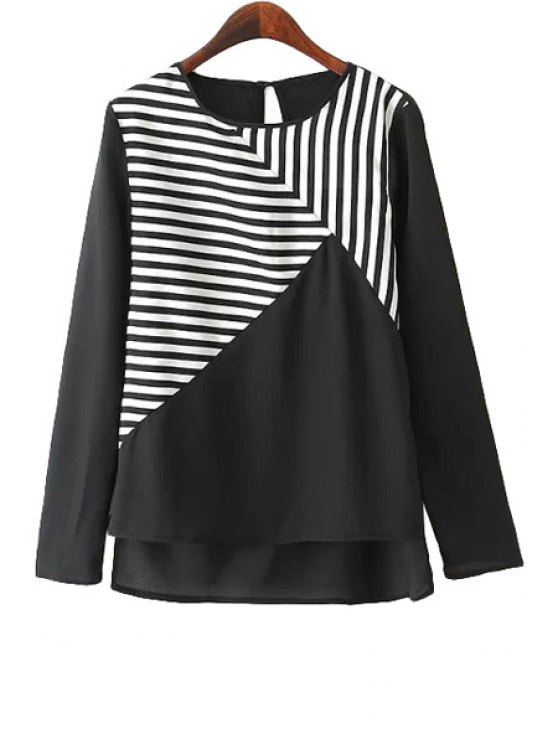 unique Stripe Splicing Asymmetrical T-Shirt - WHITE AND BLACK S