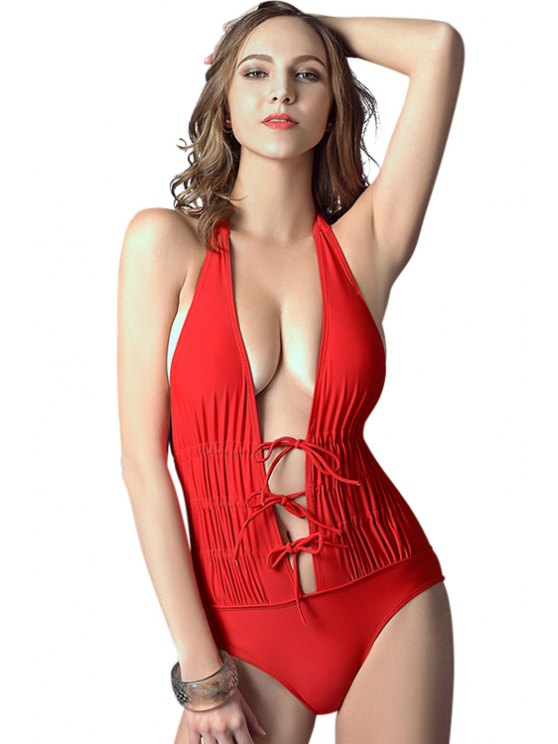 sale Red Lace-Up One-Piece Swimwear - RED S