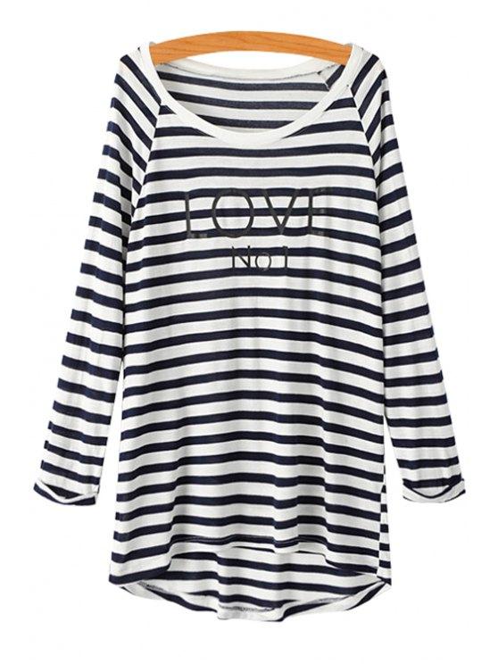 hot Letter Striped Long Sleeve T-Shirt - STRIPE S