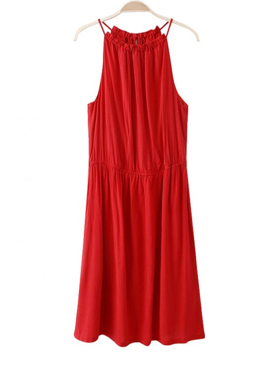 women's Spaghetti Straps Red Dress - RED S