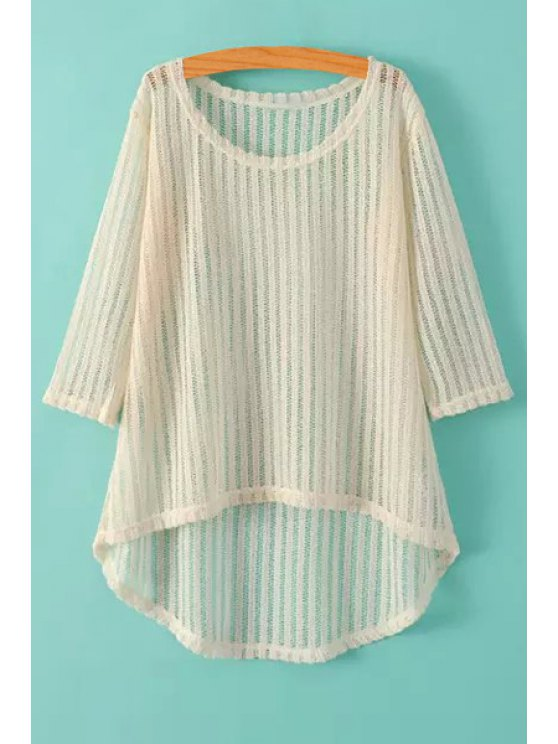 outfits High-Low Hem 3/4 Sleeve Knitwear - BEIGE ONE SIZE(FIT SIZE XS TO M)