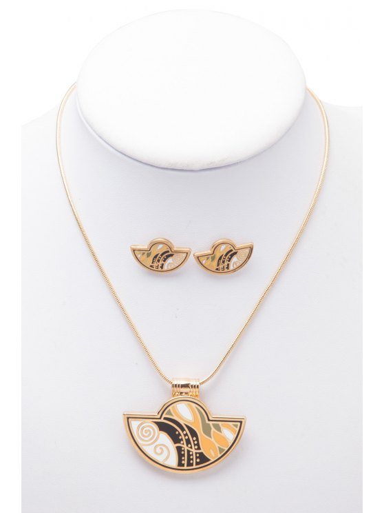 women Printed Geometric Shape Necklace And Earrings - AS THE PICTURE