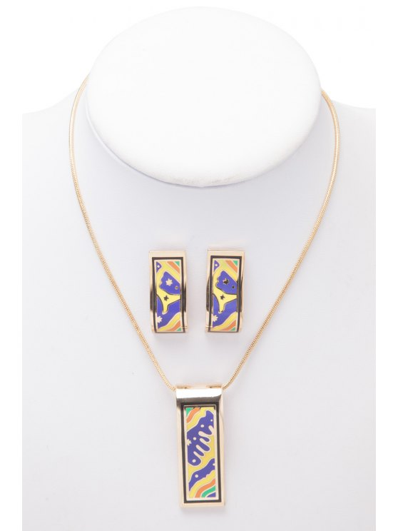 women's Rectangle Shape Printed Necklace And Earrings - AS THE PICTURE