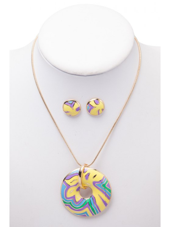 hot Openwork Round Shape Printed Necklace And Earrings - AS THE PICTURE