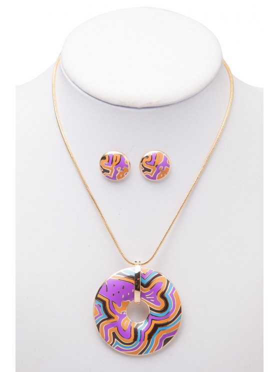 outfits Printed Circle Shape Necklace And Earrings - AS THE PICTURE