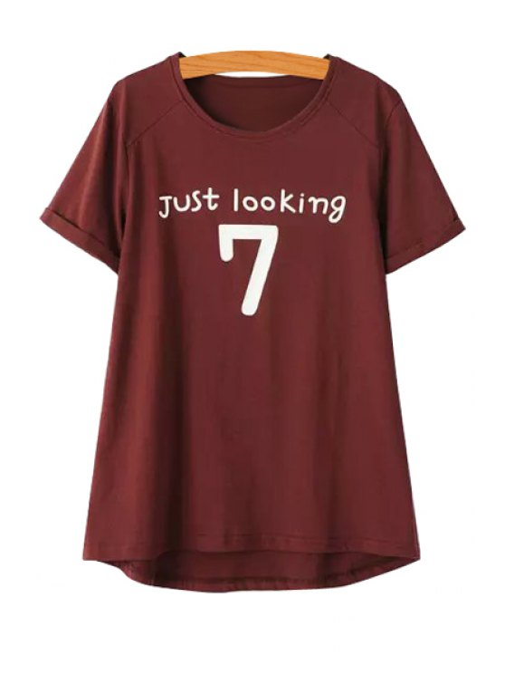 online Letter Number Print Short Sleeve T-Shirt - WINE RED ONE SIZE(FIT SIZE XS TO M)