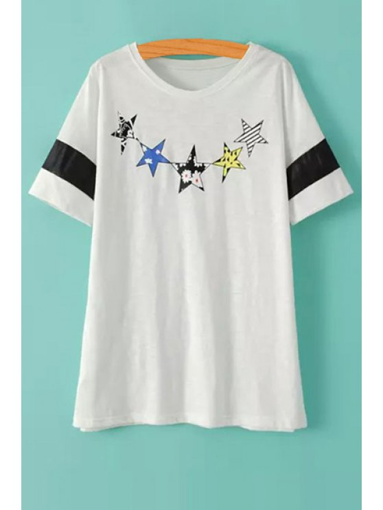 outfits Stars Print Short Sleeve T-Shirt - WHITE ONE SIZE(FIT SIZE XS TO M)