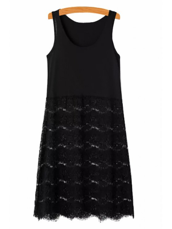 sale Lace Splicing Solid Color Sundress - BLACK ONE SIZE(FIT SIZE XS TO M)