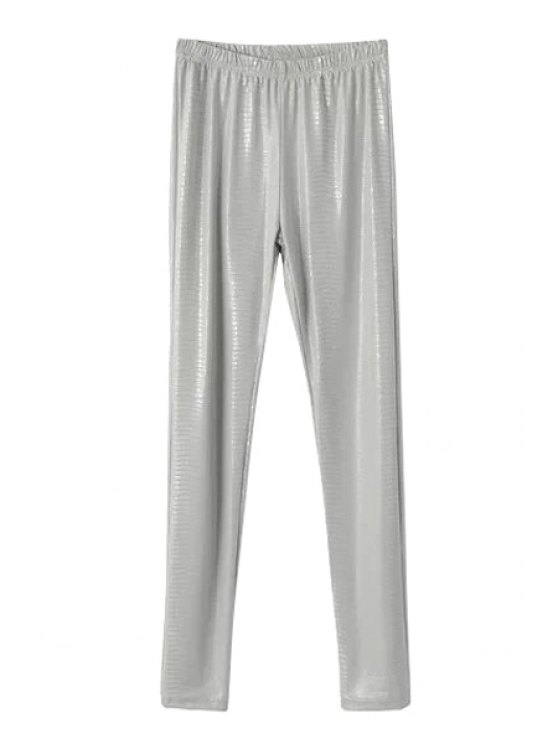 new Solid Color Elastic Waisted Leggings - GRAY ONE SIZE(FIT SIZE XS TO M)
