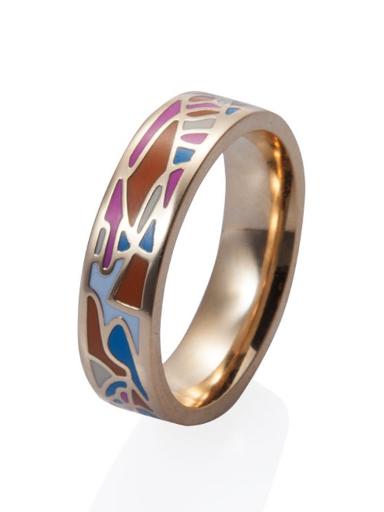 online Geometric Pattern Round Shape Ring - COLORMIX 16