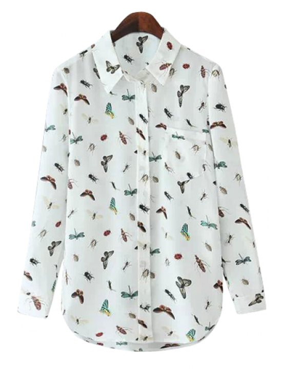 sale Insect Print Long Sleeves Shirt - WHITE S