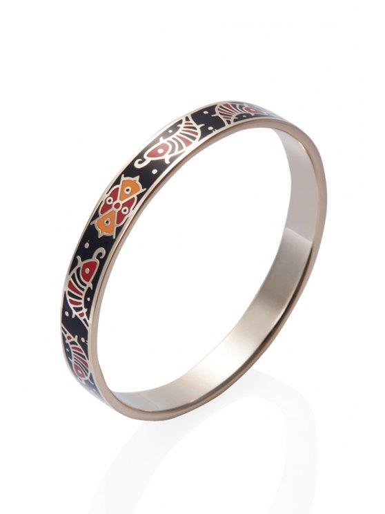 womens Circle Shape Floral Pattern Bracelet - COLORMIX