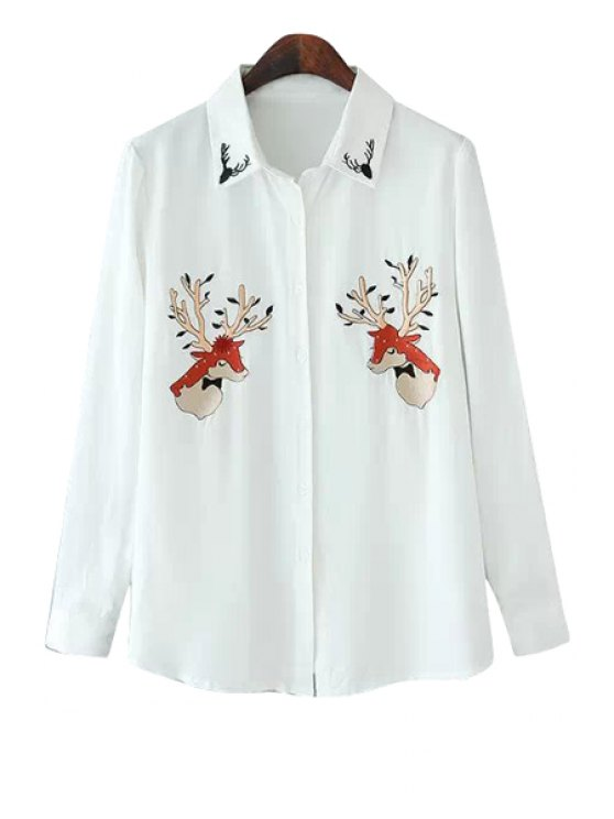 womens Deer Embroidery Long Sleeve Shirt - WHITE S