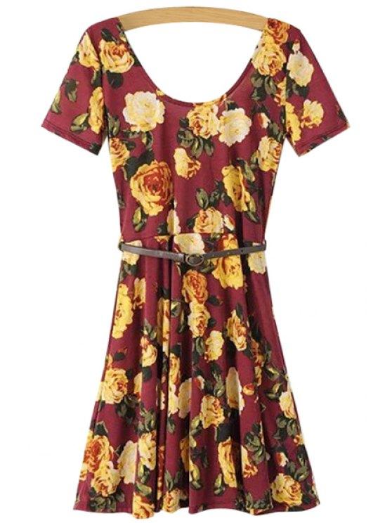online Belt Floral Print Short Sleeve Dress - RED S