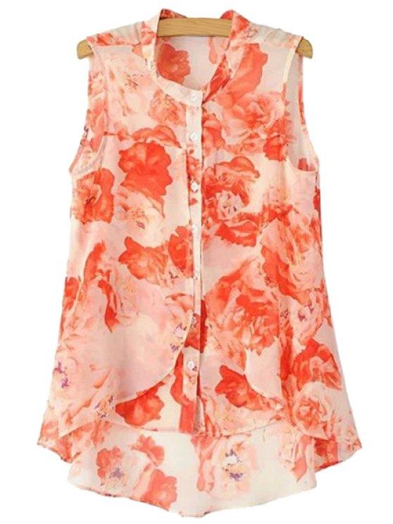 lady Floral Print Asymmetrical Sleeveless Shirt - ORANGE RED S