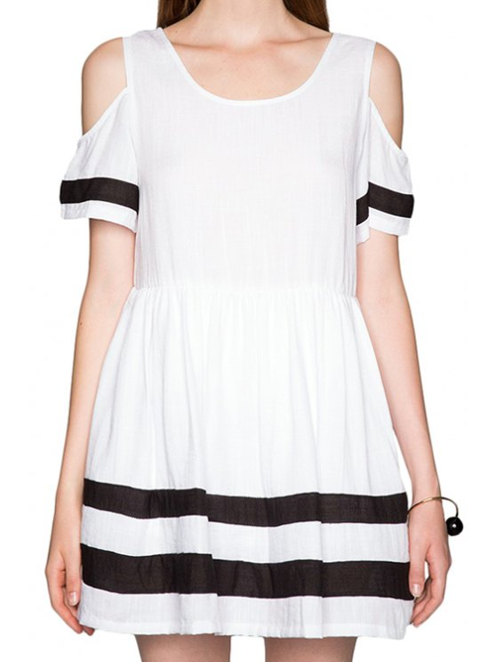 outfits Striped Off-The-Shoulder Dress - WHITE S