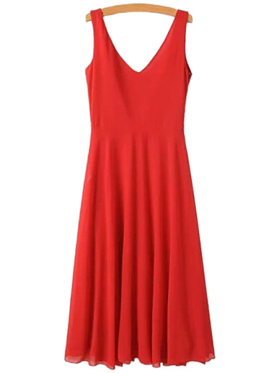 sale Solid Color Backless Tie-Up Dress - RED S