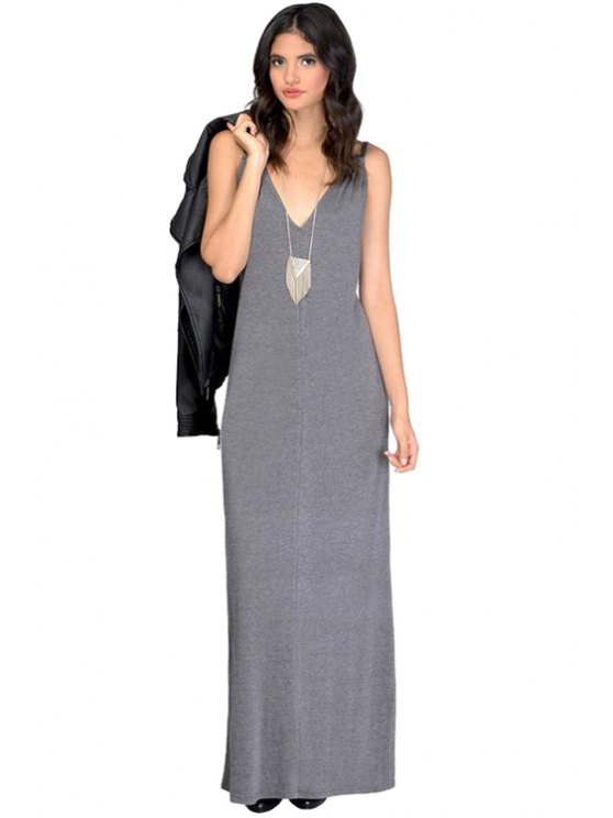 women's Spaghetti Straps Solid Color Backless Dress - GRAY S