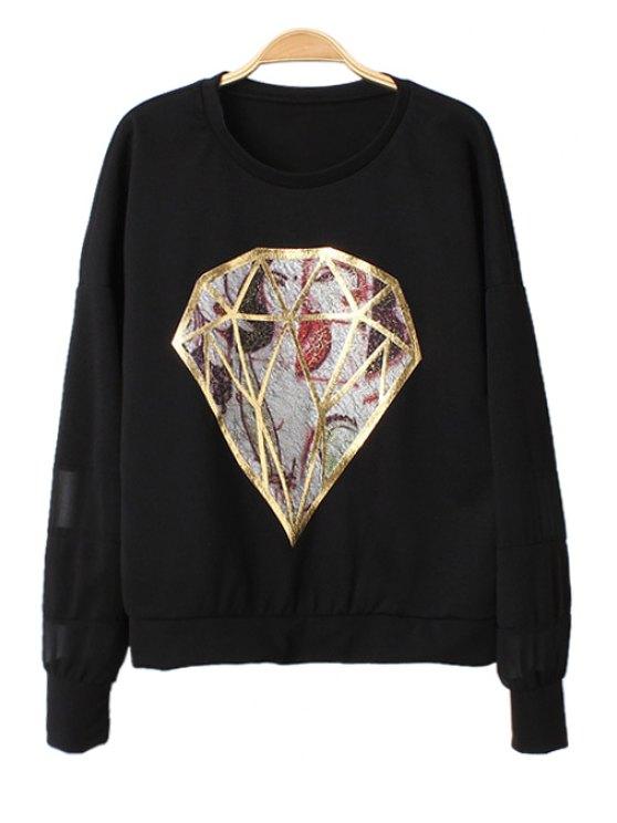 online Diamond Pattern Chiffon Splicing T-Shirt - BLACK ONE SIZE(FIT SIZE XS TO M)
