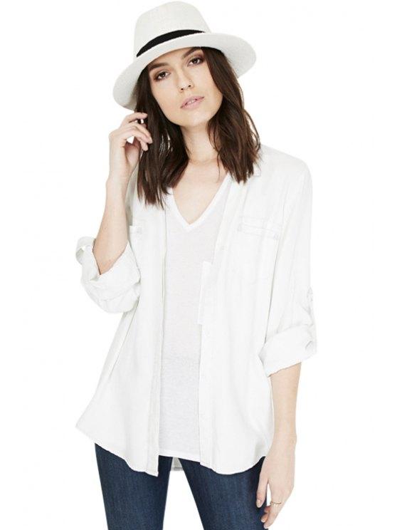 online Solid Color Slit Long Sleeve Shirt - WHITE S