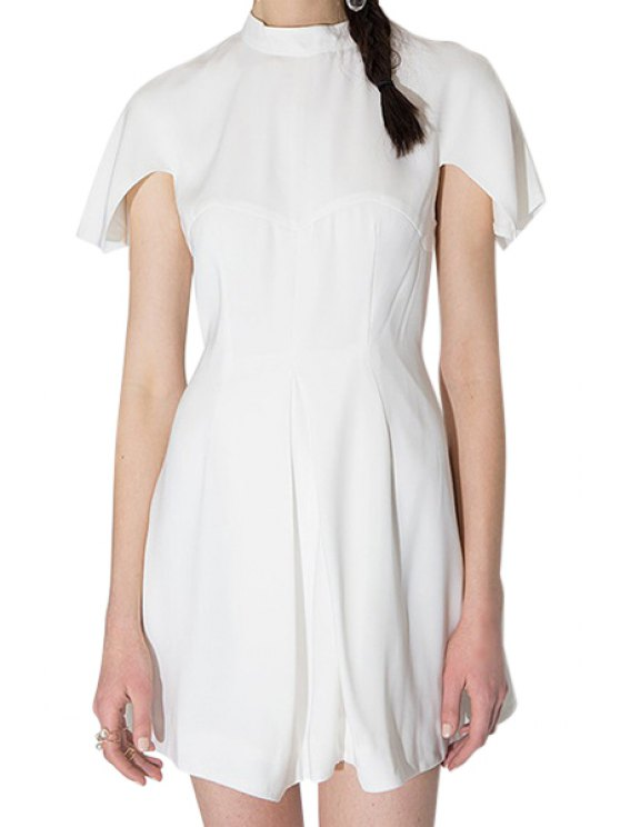 sale Short Sleeve White Dress - WHITE S