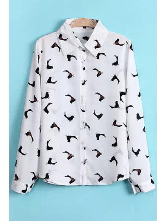 new Polo Collar Birds Print Shirt - WHITE S