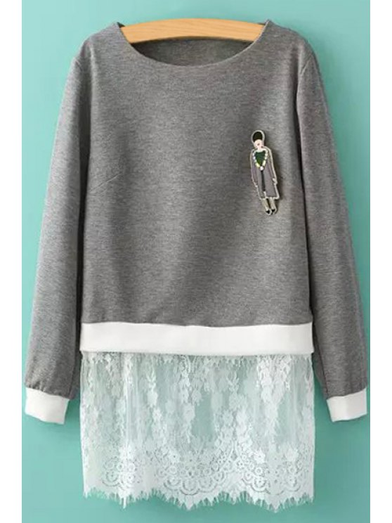 shop Figure Pattern Lace Splicing Dress - GRAY L