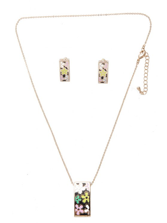 shop Flower Pattern Rectangle Necklace And Earrings - AS THE PICTURE