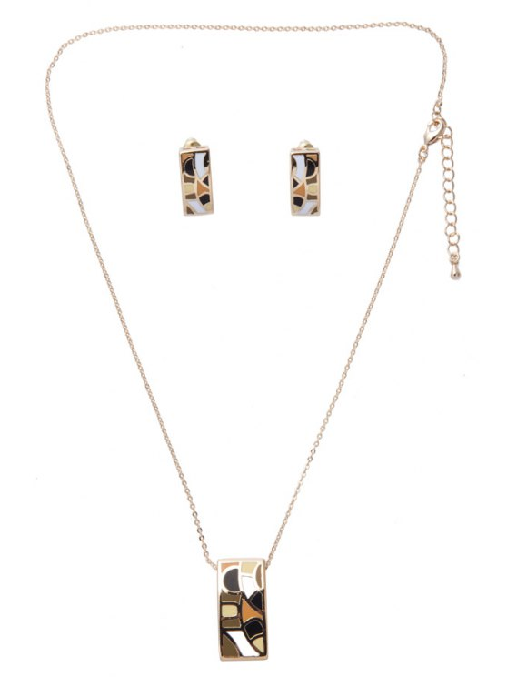 shops Printed Rectangle Chic Necklace And Earrings - AS THE PICTURE