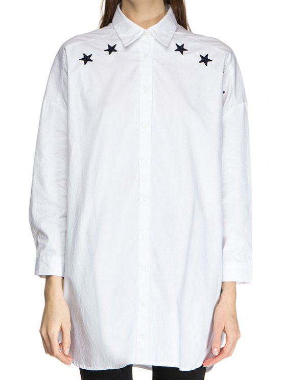 buy Shirt Neck Star Embroidery Shirt - WHITE S
