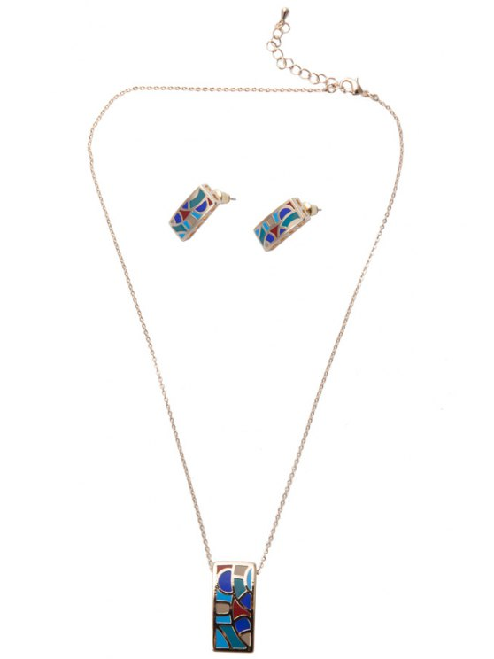 latest Printed Geometric Shape Pendant Necklace And Earrings - AS THE PICTURE